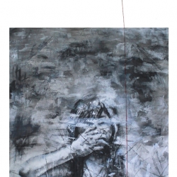 Yasmeen Cheong - I'm Trapped (2016) - Charcoal, Thread & Paper on Canvas - 215 x 90cm